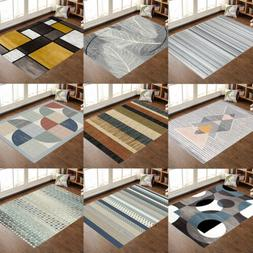Contemporary Modern Soft Area Rugs Nonslip Velvet Home Room