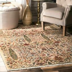nuLOOM Contemporary Tribal Floral Fringe Area Rug in Green,