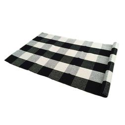 Cotton Area Hand Made Rug Washable Carpet Checkered Plaid Bu