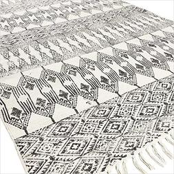 Eyes of India 4 X 6 ft Black White Cotton Block Print Accent
