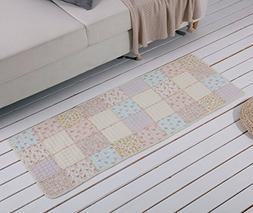 Cotton Quilted Patchwork Pastoral Style Area Rugs/Carpet,Pin