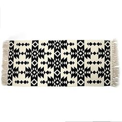 Cotton Rag Rug with Tassel,SHACOS Fully Reversible Area Rugs