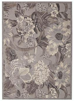 "Nourison Country & Floral Rectangle Area Rug 5'3""x7'5"" Grey"