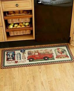 Country Harvest Farmhouse Kitchen Rug Farm Truck Rooster Cow