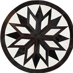 Cowhide Rug Leather Cow Hide Geometrical Star Patchwork Area