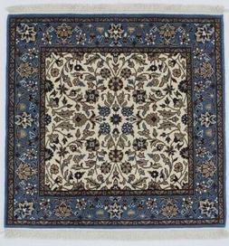 Cream Plush Square Hand-Knotted Kirman 3X3 Oriental Home Dé