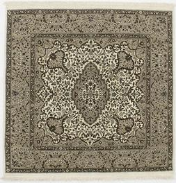 Cream Plush Square Hand-Knotted Kirman 5X5 Oriental Home Dé