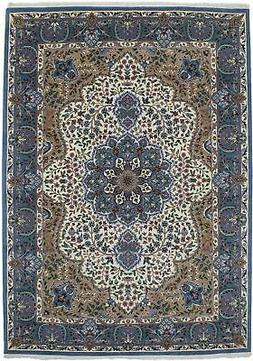 Cream Thick Pile Hand-Knotted New Kirman 7X9 Oriental Home D