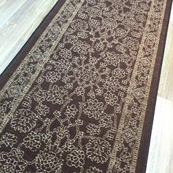 Custom Size BROWN Egyptian Print Traditional Persian Rubber