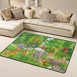 Naanle Cute Area Rug 2'x3', Jungle Animals Tiger Lion Elepha