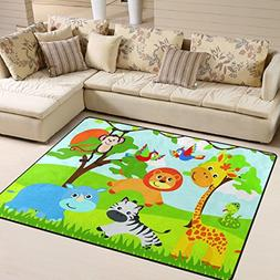 Naanle Cute Area Rug 5'x7', Jungle Animals Lion Giraffe Bird