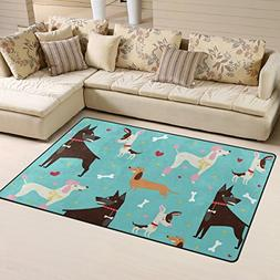 LORVIES Cute Dogs Pattern Area Rug Carpet Non-Slip Floor Mat