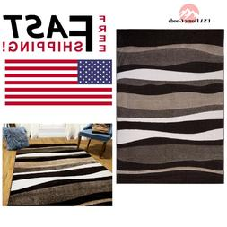5 ft x 7 ft Dark Brown Tufted Striped Area Rug Accent Floor