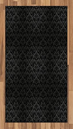 Ambesonne Dark Grey Area Rug, Black Damask Arabesque and Flo