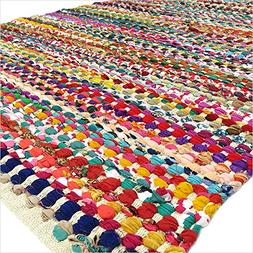 Eyes of India 4 X 6 ft White Decorative Colorful Woven Chind
