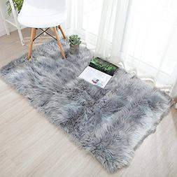 OJIA Deluxe Soft Modern Faux Sheepskin Shaggy Area Rugs Chil