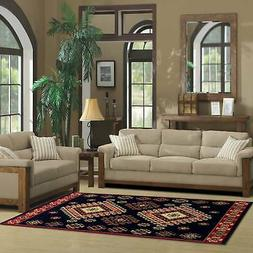 Superior Designer Santafe Black Area Rug - 6' x 9'
