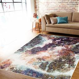 """Rugshop Distressed Abstract Area Rug, 7'10"""" x 10'2"""", Multico"""