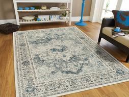 Distressed Area Rugs 8x10 Cream Blue Rug 5x7 Living Room Rug