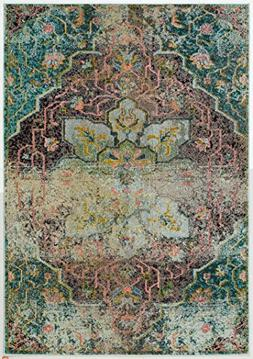 distressed floral medallion rug