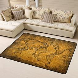 Distressed Vintage World Map with Texture Area Rugs Pad Non-