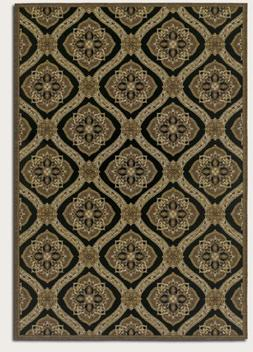 Couristan Dolce Napoli Flat Woven Indoor/Outdoor Rug, Black