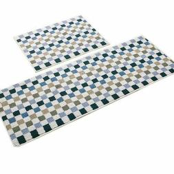 Easychan 2 Piece Carpet Rubber Backing Non-Slip Kitchen Mat