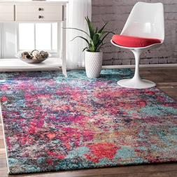 nuLOOM ECCR20A Multi Reva Abstract Area Rug, 5' x 8', Multic