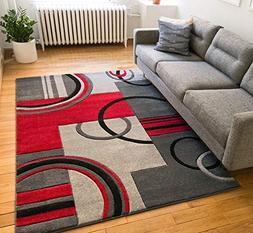 Echo Shapes & Circles Red / Grey Modern Geometric Comfy Casu