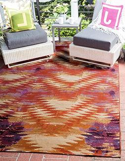 Unique Loom Eden Outdoor Collection Modern Transitional Red