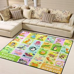 Naanle Educational Alphabet Area Rug 5'x7', Cute Animal Poly