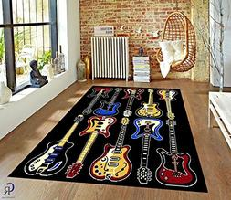 CHAMPION RUGS ELECTRIC GUITAR THEMED KIDS MUSIC ROOM BEDROOM