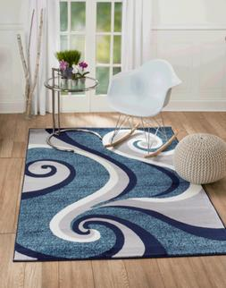 Elite Collection - Blue, White Abstract Swirl Area Rug