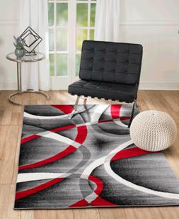 Elite Collection - Grey, Red Abstract Line Modern Area Rug