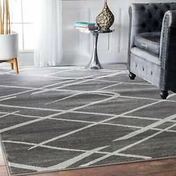 Elite Collection- Modern Abstract Lines, Gray Soft Area Rug