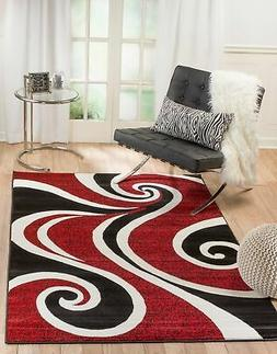 Elite Collection - Red, Black Swirl Geometric Area Rug