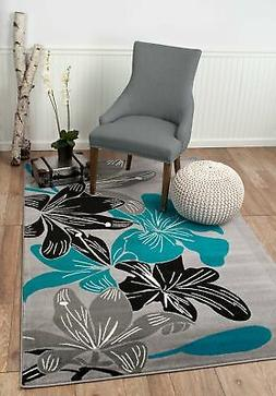 Elite Collection - Teal, Grey, Black Modern Floral Area Rug