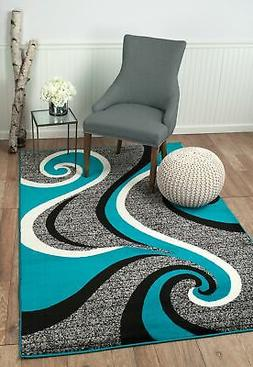 Elite Collection - Teal, Grey, Black Modern Swirl Area Rug S
