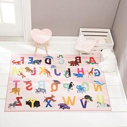 Home Dynamix Eric Carle Elementary Pink Alphabet Area Rug 4'
