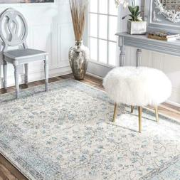 nuLOOM Floral Bordered Vintage Rio Area Rug in Aqua Blue and