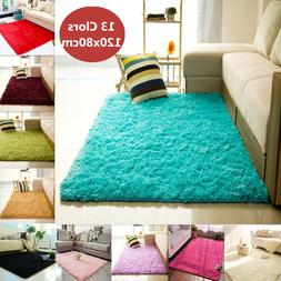 Fluffy Rugs Anti-Skid Shaggy Area Rug Home Room Carpet Floor