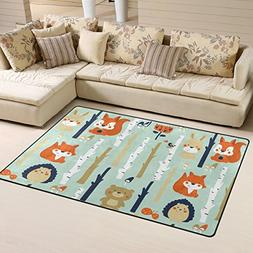 Naanle Fox Area Rug 3'x5', Forest Background with Cute Anima
