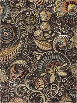 Universal Rugs Giselle Transitional Floral Brown Rectangle A