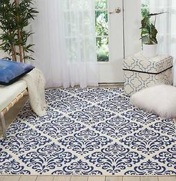 "Nourison Grafix Area Rug, 5'3"" x7'3, White Blue"