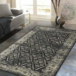 Allstar Rugs Gray and Black Rectangular Accent Area Rug with