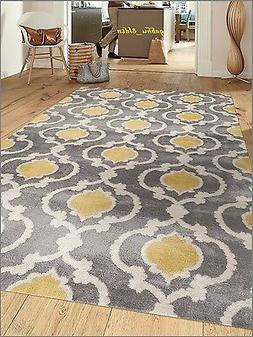 Gray And Yellow Rug Moroccan Trellis Contemporary Modern Uni