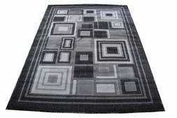 Grey Style Carpet  Silver Colorful Modern Abstract Square Pa