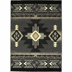 Allstar 8 X 10 Grey with Black Woven Native American Runner