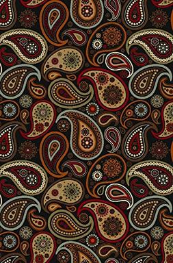 Maxy Home Hamam Paisley Black 8 ft. 2 in. x 11 ft. Rubber Ba