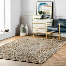 nuLOOM Hand Braided Denim Cotton and Jute Blend Area Rug in